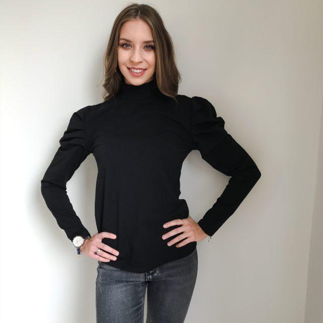Bluzka z bufkami czarna | Butik z modą PiuGrande