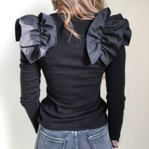 Sweter z dekoltem w serek czarny| Butik z modą PiuGrande