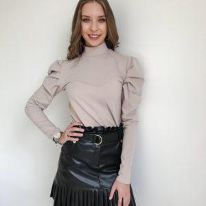 Bluzka z bufkami beżowa   Butik z modą PiuGrande