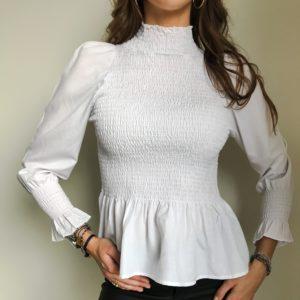 Bluzka koszulowa z marszczeniami biała | Butik z modą PiuGrande