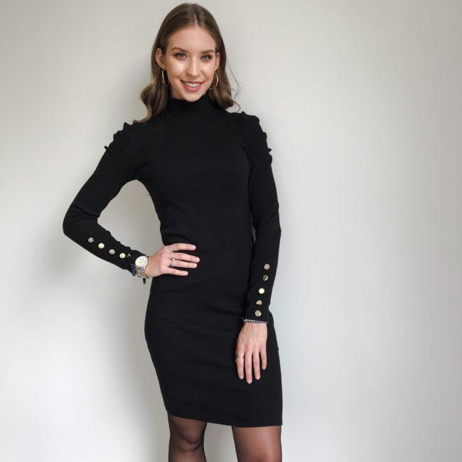 Sukienka z bufkami czarna | Butik z modą PiuGrande