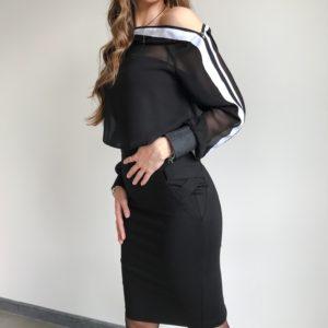 Spódnica ze ściągaczami czarna | Butik z modą PiuGrande