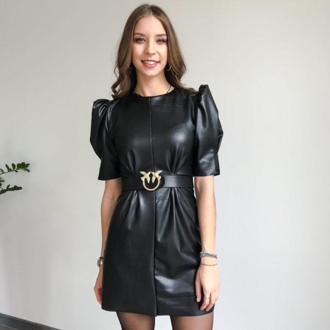 Sukienka skórzana czarna | Butik z modą PiuGrande