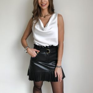 Spódnica skórzana z plisami czarna| Butik z modą PiuGrande