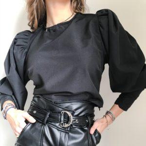 Bluzka koszulowa z bufkami czarna| Butik z modą PiuGrande