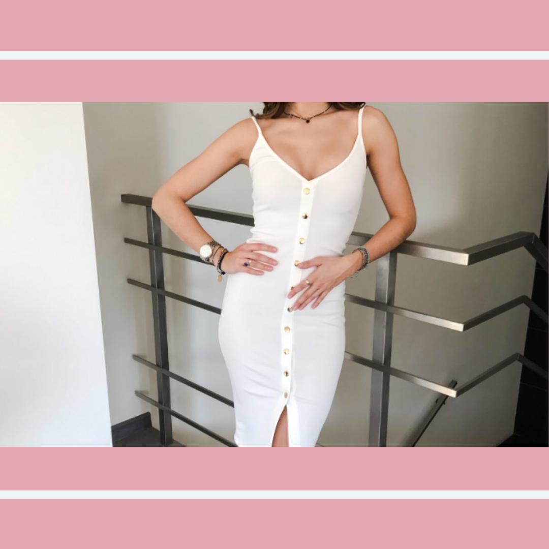 Biała przylegająca sukienka na ramiączkach