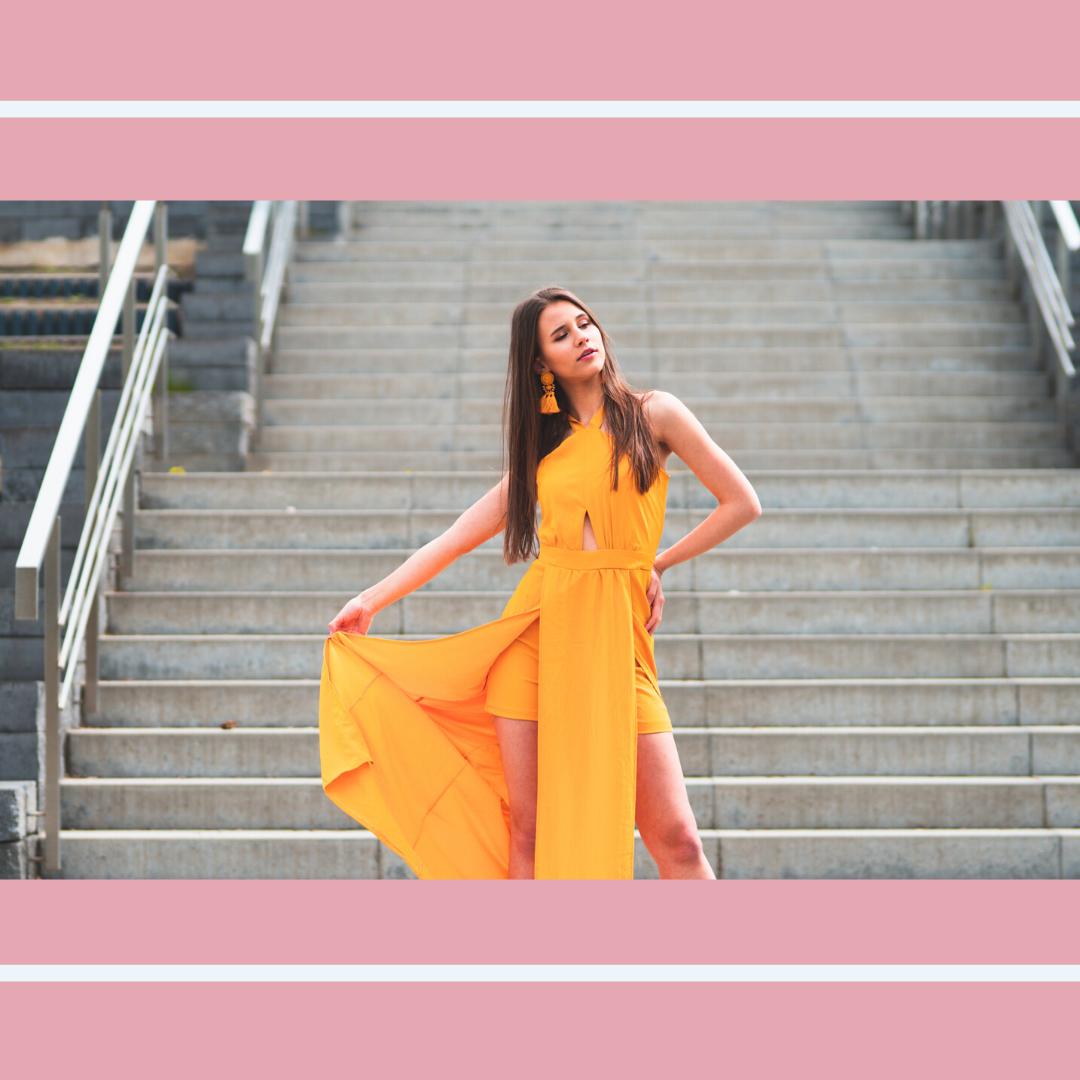 Długa pomarańczowa sukienka